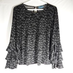 CeCe Top Bow Print Ruffle Sleeves Size S